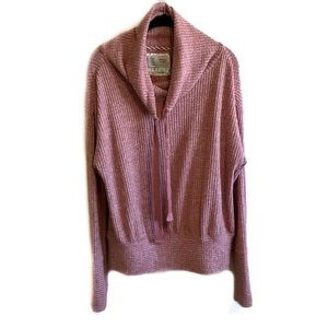 NWT Anthropologie rose cowl neck waffle knit top